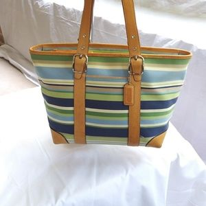 Coach Hampton Multi Color Striped Tote 7743